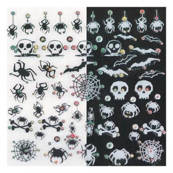 LCN Nail Art Sticker Black and White Spiders