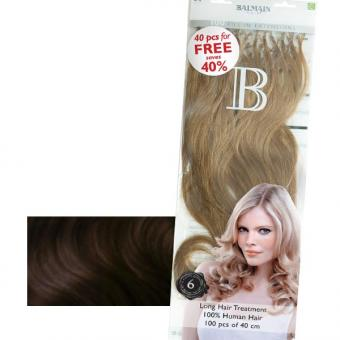 Balmain Fill-In Extensions Value Pack Natural Straight 2/4 Dark Brown/Medium Brown, Pro Packung 100 Stück
