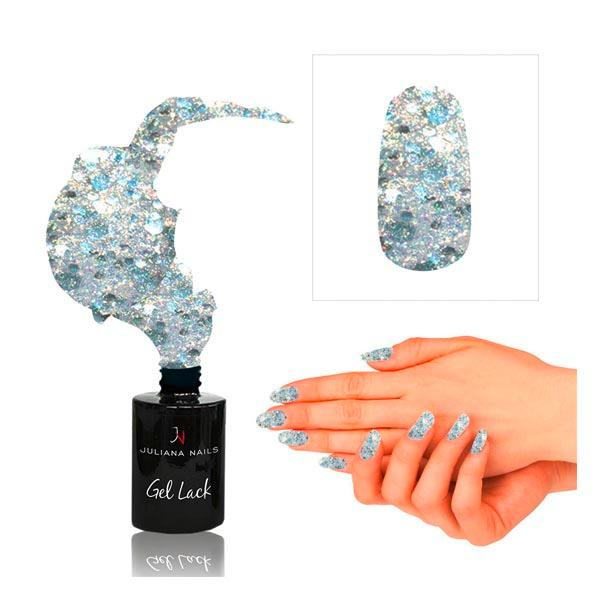 Juliana Nails Gel Lack Glitter Effekt Silber-Gold, Flasche 6 ml - 1