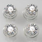 Dynatron Hair Swirl Strass Blume Strass mit Perle (3), 4 Stück