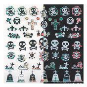 LCN Nail Art Sticker Black and White Tête de mort