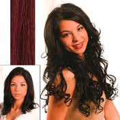 hair4long Echthaarsträhnen Hellbraun Rot-Violett #35