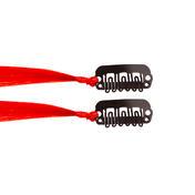 hair4long Mèches en cheveux synthétiques Quick-Clip rouge clair, Par paquet 2 pièces