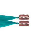 hair4long Mèches en cheveux synthétiques Quick-Clip pétrole clair, Par paquet 2 pièces