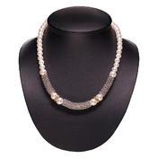 Dynatron Collier avec perles argent clair